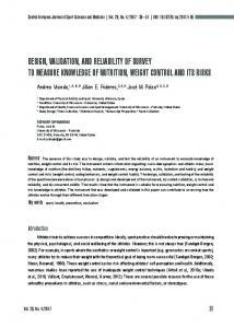 design, validation, and reliability of survey to measure knowledge of ...