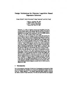 Design Validations for Discrete Logarithm Based Signature Schemes