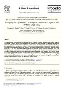 Designing an Experiential Learning Environment for Logistics and ...