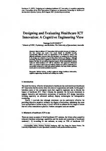 Designing and Evaluating Healthcare ICT Innovation - CiteSeerX