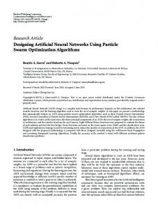 Designing Artificial Neural Networks Using Particle Swarm