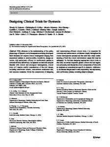 Designing Clinical Trials for Dystonia - Springer Link