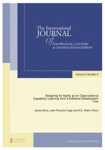 Designing for Agility as an Organizational Capability: Learning from a ...