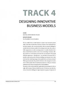 DesIgnIng InnovatIve BusIness MoDels