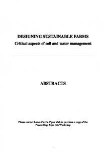 designing sustainable farms abstracts - Fertilizer and Lime Research ...