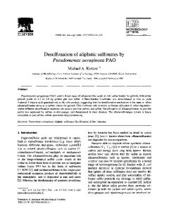 Desulfonation of aliphatic sulfonates by Pseudomonas ... - Core