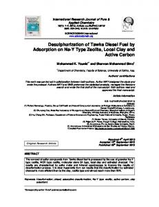 Desulphurization of Tawke Diesel Fuel by Adsorption