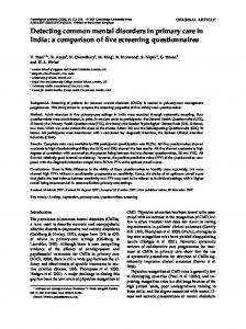Detecting common mental disorders in primary care in India - Sangath