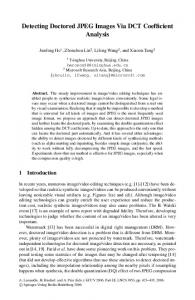 Detecting Doctored JPEG Images Via DCT Coefficient ... - Columbia EE