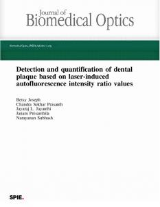 Detection and quantification of dental plaque based ...