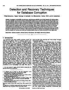 Detection and recovery techniques for database corruption - IEEE Xplore
