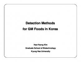 Detection Methods for GM Foods in Korea