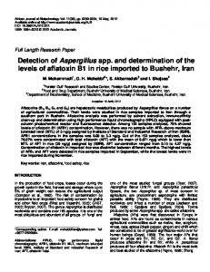 Detection of Aspergillus spp. and determination of the levels of ...