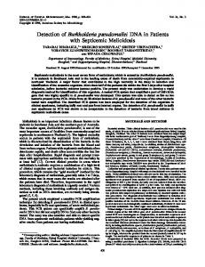 Detection of Burkholderia pseudomallei DNA in Patients with ...
