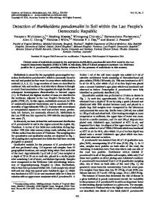 Detection of Burkholderia pseudomallei in Soil within the Lao People's ...