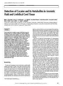 Detection of Cocaine and its Metabolites in Amniotic Fluid and ...