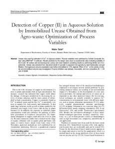 Detection of Copper (II) in Aqueous Solution by Immobilized Urease ...