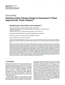 Detection of Early Ischemic Changes in Noncontrast CT Head ...