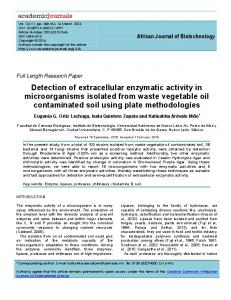Detection of extracellular enzymatic activity in microorganisms isolated ...