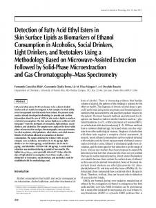 Detection of Fatty Acid Ethyl Esters in Skin Surface Lipids as ...