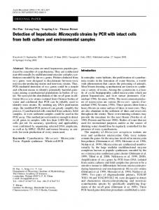 Detection of hepatotoxic Microcystis strains by PCR ... - Springer Link