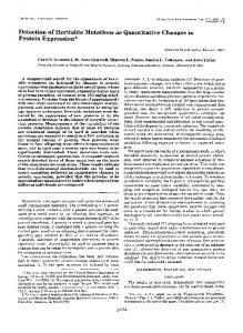 Detection of Heritable Mutations as Quantitative Changes in Protein ...