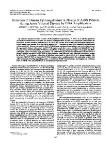 Detection of Human Cytomegalovirus in Plasma of AIDS Patients ...