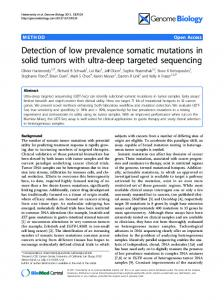 Detection of low prevalence somatic mutations in ... - BioMedSearch