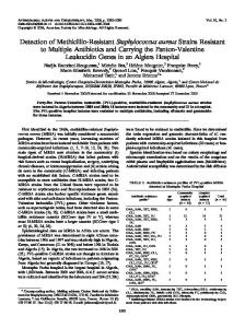 Detection of Methicillin-Resistant Staphylococcus aureus Strains ...