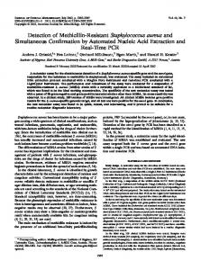 Detection of Methicillin-Resistant Staphylococcus aureus and ...