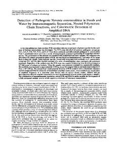 Detection of Pathogenic Yersinia enterocolitica in Foods and Water by ...