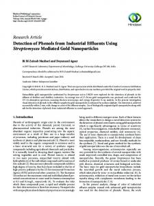 Detection of Phenols from Industrial Effluents Using Streptomyces ...