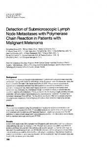 Detection of submicroscopic lymph node metastases with polymerase ...
