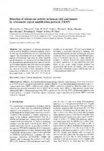 Detection of telomerase activity in human cells and tumors ... - CiteSeerX