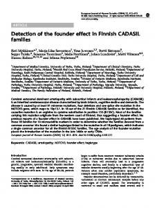 Detection of the founder effect in Finnish CADASIL families - Nature