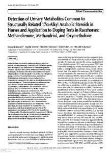 Detection of Urinary Metabolites Common to ...