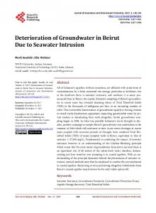 Deterioration of Groundwater in Beirut Due to Seawater Intrusion