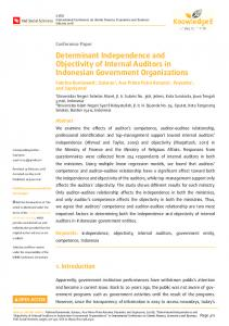 Determinant Independence and Objectivity of Internal Auditors in ...