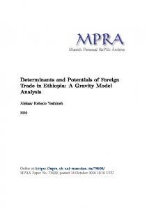 Determinants and Potentials of Foreign Trade in Ethiopia: A Gravity ...