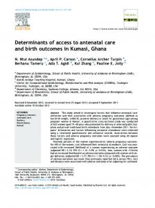 Determinants of access to antenatal care and birth ... - CyberLeninka