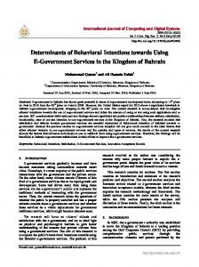 Determinants of Behavioral Intentions towards Using ...