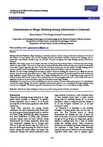Determinants of Binge Drinking among Adolescents in Denmark