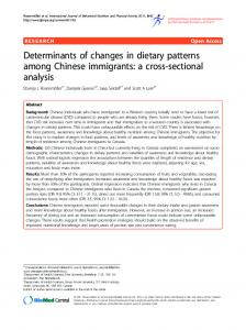Determinants of changes in dietary patterns among Chinese immigrants