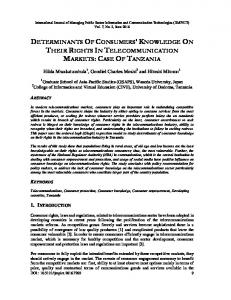determinants of consumers' knowledge on their ... - Aircc Digital Library