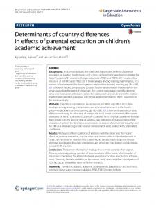 Determinants of country differences in effects of ... - Springer Link