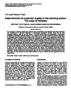 Determinants of customer loyalty in the banking ... - Academic Journals