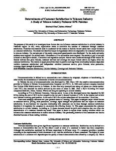 Determinants of Customer Satisfaction in Telecom Industry A Study of ...