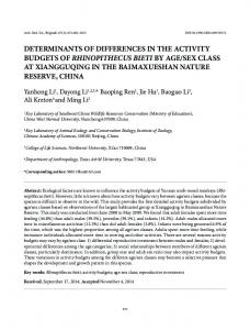 determinants of differences in the activity budgets of ...