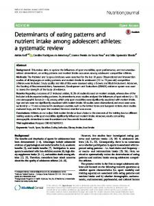 Determinants of eating patterns and nutrient intake ... - Nutrition Journal