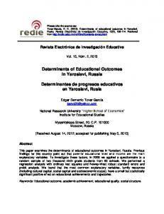 Determinants of Educational Outcomes in Yaroslavl, Russia ...